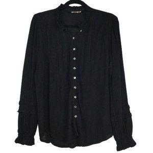 Faherty Button Down Textured Blouse in Black